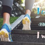 Running fitness motivation. I can and I will. Inspirational quote. Sport, fitness, active lifestyle concept