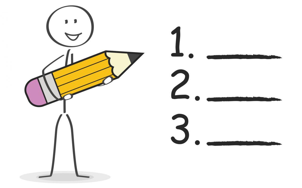 Strichmnnchen macht sich eine nummerierte Liste mit Bleistift