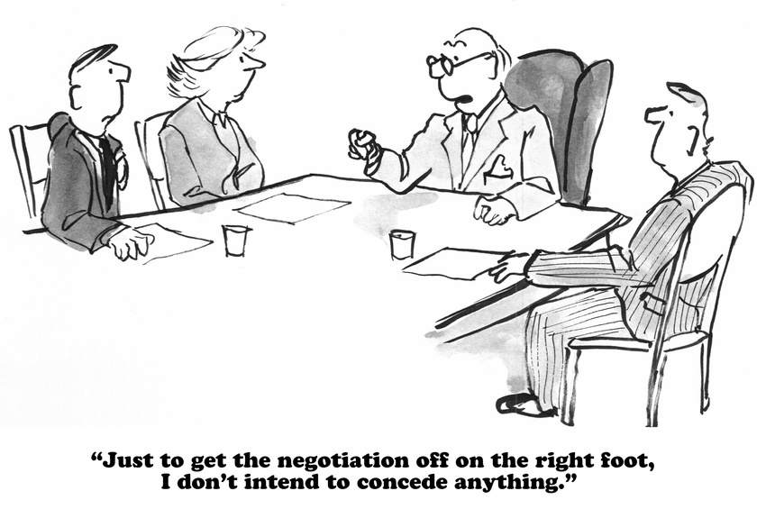 Business and legal cartoon about a challenging negotiation.