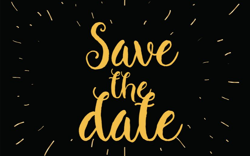 Save the date inscription. Greeting card with calligraphy. Hand drawn lettering design. Photo overlay. Typography for invitation, banner, poster or clothing design. Vector quote
