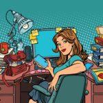 pop art Businesswoman in the workplace